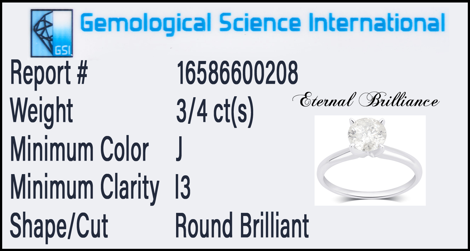 Certified Diamond Solitaire Ring in 14K Gold by Eternal Brilliance ...